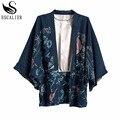 ESCALIER Mulheres Casaco Kimono Chiffon Cardigan Verão Cópia Do Vintage Padrão de Impressão Feminino Batwing Roupas de Manga Longa Outerwear