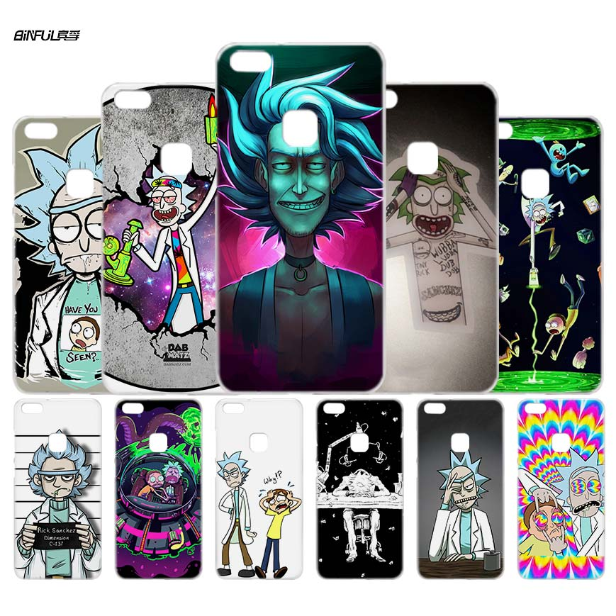 BiNFUL Rick and Morty Season Clear Case Cover Shell for Huawei P6 10 9 8 Lite 2017 Plus Mate 8 9 10 S Lite Pro