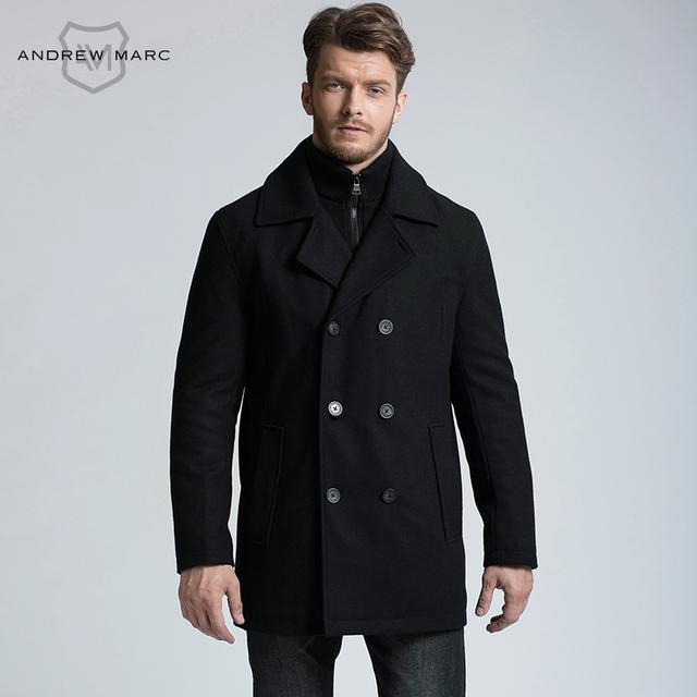 ANDREW MARC 2016 Homens Outono Inverno Homem de Lã Casaco Casaco De Lã Mistura Fina Neve à prova de Vento Quente TM6UW208