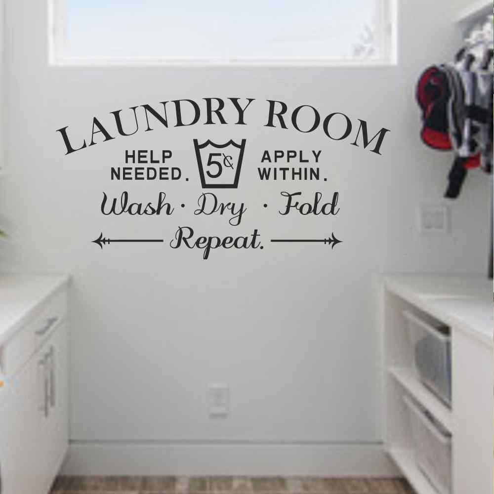 Laundry Room Wall Decal Wash Dry Fold Wall Stickers Laundry Room Decor Laundry  Room Sign Vinyl Decal Sticker In Wall Stickers From Home U0026 Garden On ...