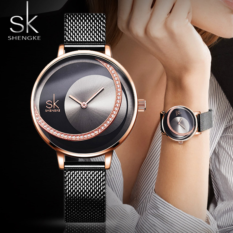 Luxury Rose Gold Women Watches Fashion Waterproof Rhinestone Lady Watch Elegant Unique SHENGKE Casual Stainless Steel Creative