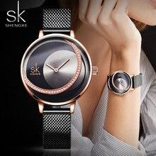 Relógios shengke de luxo femininos, relógios rosa dourados de luxo para mulheres, relógios da moda, impermeáveis, com strass, elegante, único, casual de aço inoxidável, criativoRelógios femininos