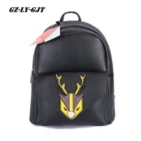 GZ LY GJT Brand Women Bag Fashion Backpack Casual Pu Leather Female Large Big Solid Deer