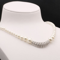 AlooWay retro exquisite cz full circle pearl necklace pendant short women jewelry 40+5CM