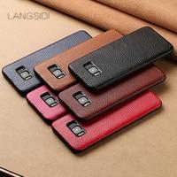 Langsidi ماركة الهاتف حالة الليتشي الحبوب شاملة حالة الهاتف لسامسونج غالاكسي s8 الهاتف القضية كاملة اليدوية مخصص معالجة