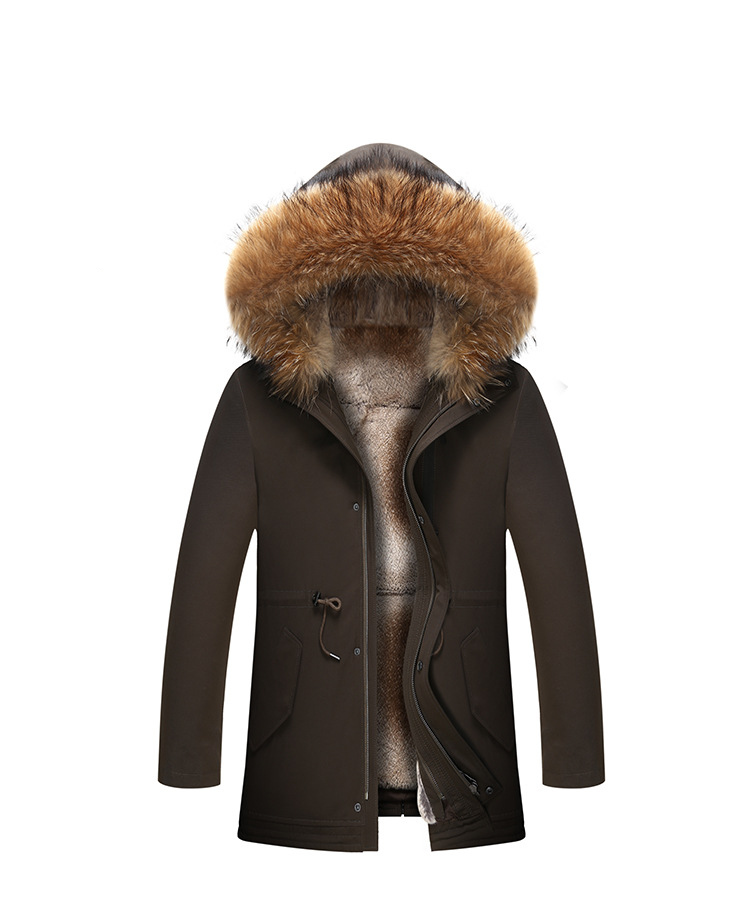 1 Fur Winter Jackets Mens Super Warm Parkas Camel Hairs Filling with Raccoon Hood big fur winter coat thicken parka