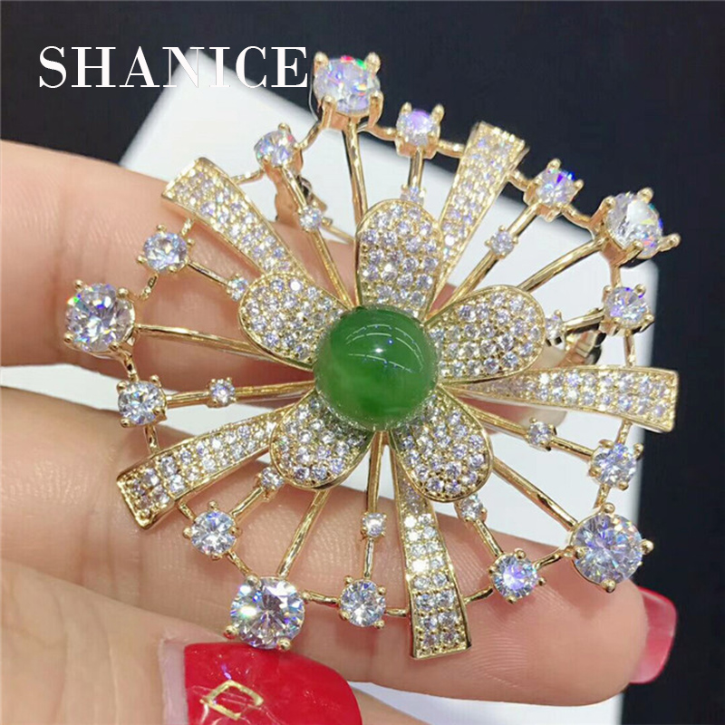 SHANICE Gold-Tone Flower Women Wedding Pin Sweater Accessories Pearl Brooch Buckle Collar Broches & Tassel Jewelry Connector