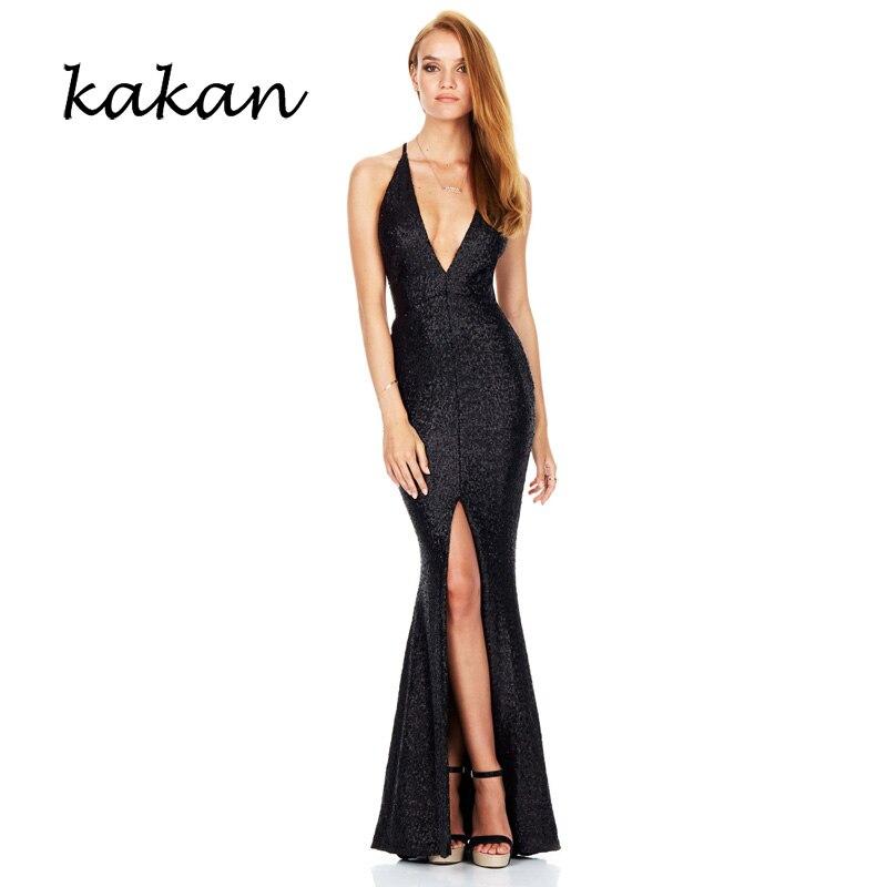 Kakan summer new sequin dress deep V neck sling dress split fork back nightclub sexy sequin dress dress in Dresses from Women 39 s Clothing