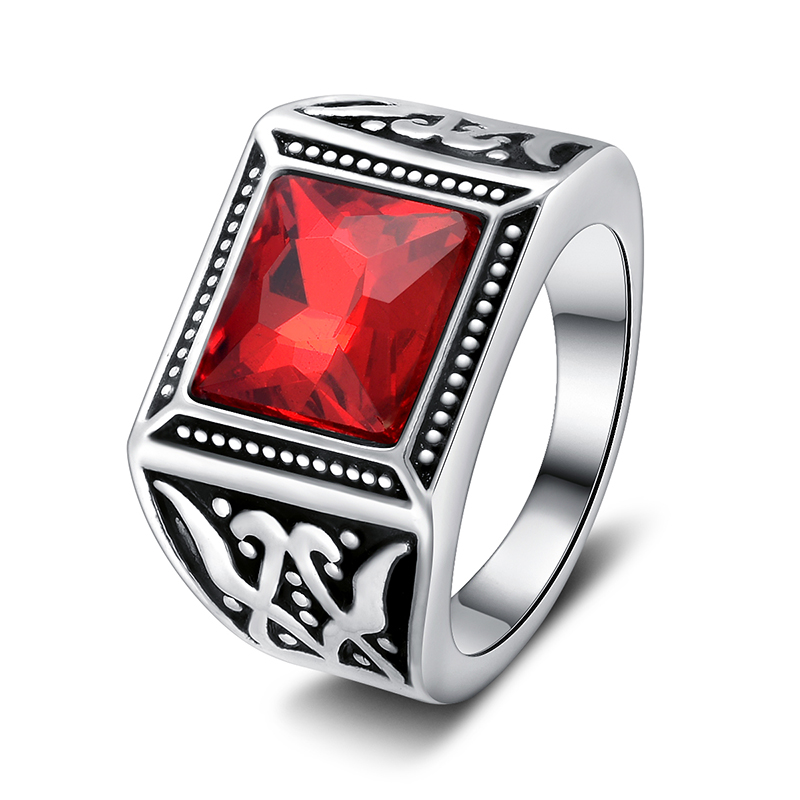 2017 High Quality Vintage Ring Cool Inlay Rings For Men Fashion Jewelry Red Stone Gothic Casting