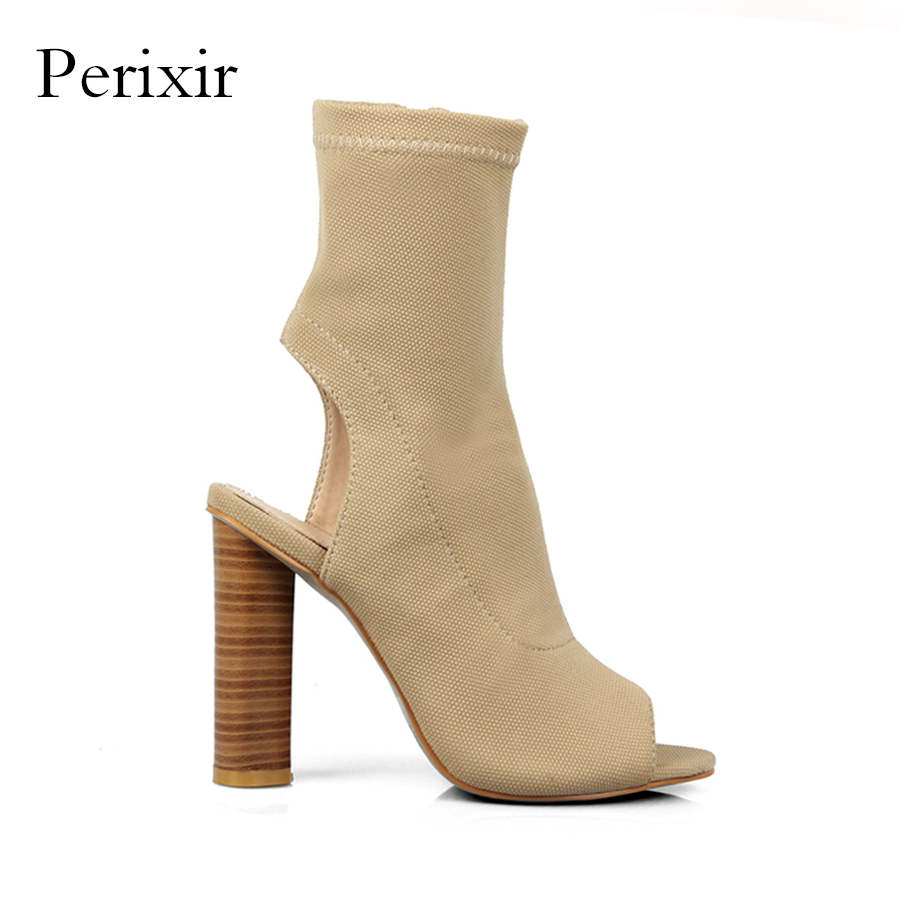 Perixir Stretch Fabric Peep Toe Hollow Out Half Mid Calf Boots for Women Shoes 12cm Super High Heel Boots Rome Style Botas Mujer 2018 new arrival brand summer boots pu square heel women boots mid calf zipper fashion hollow peep toe elegant crystal shoes l61