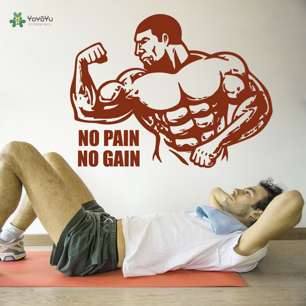 YOYOYU Wall Decal No Pain No Gain Vinyl Wall Sticker Bodybuilder Quote Bodybuilding Decor Sports Gym Art Poster YO256 in Wall Stickers from Home Garden