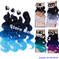 4pcs/lot Synthetic Body Wave with Closure 18 20 22 Inches, 5 Colors Cheap Ombre Body Wave Hair Weave, Hot Sale Fashion Hair