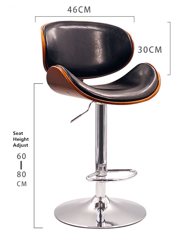 Height Adjustable Modern Swivel Bar Stool Walnut Bentwood PU Leather Seat and Back Home Cafe Stool For Pub Mini Bar Furniture