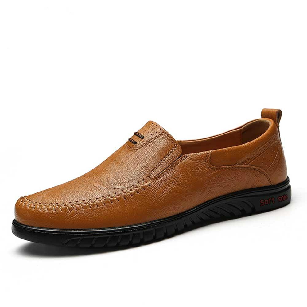 Los Genuino Italiano Para 1858hongzong Hombre Marcas Mocasines Lujo 1858hei 1858huangzong De Barco Slip Tamaño Transpirables Gran En Casuales Hombres Zapatos Cuero 0zp0wqf