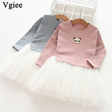 Vgiee Girls Dress Long Sleeve Autumn 2019 Party and Wedding Princess Dresses Baby Girl Clothes Animals Panda for Girl 3 Years