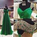 New Arrival Luxury Long Evening Dress 2016 Beaded Robe De Soiree Sheer Back Green Vestido De Festa Vestido Longo Party Dresses