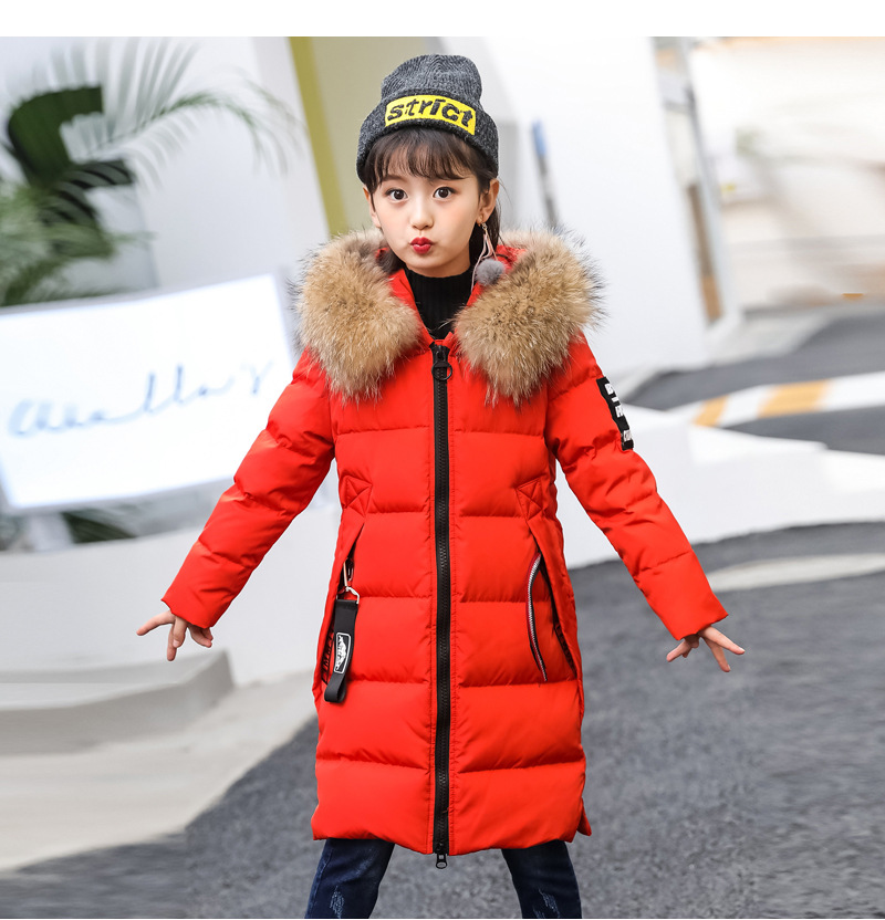 New Children Cold Winter down Girls Thickening Warm Down Jackets long Big Fur Hooded Outerwear Coats Kids 4-13years Down Jacket 2015 new hot winter cold warm woman down jacket coat parkas outerwear hooded loose luxury long plus size 2xxl splice cloak
