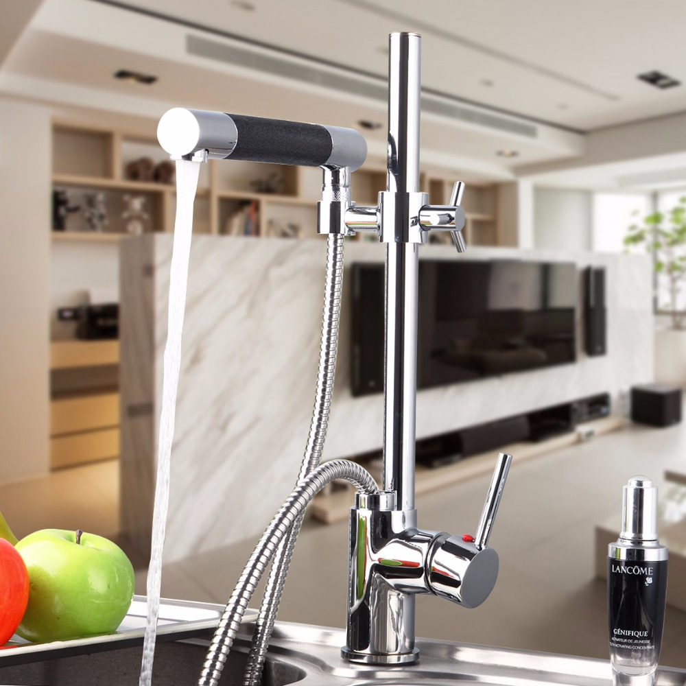 Kitchen Faucet Solid Brass kitchen Basin Faucet Hot&Cold Water Tap Pull Out Chrome Finish Kitchen Sink Mixer Taps With Hose kitchen chrome plated brass faucet single handle pull out pull down sink mixer hot and cold tap modern design