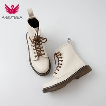 купить Women Ankle boots Leather cow leather Short boots 22-25cm length autumn and winter Wild Martin boots women fashion shoes дешево