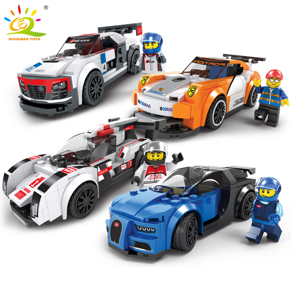 HUIQIBAO TOYS City Super Racers figures compatible legoed Speed Racing Car model Building Blocks Toys for Children DIY Bricks diy city square building bricks blocks figures toys for children game model car gift compatible with lepins 3d toys