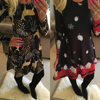Winter Casual New Year Christmas Mini Dress Women Long Sleeve Floral