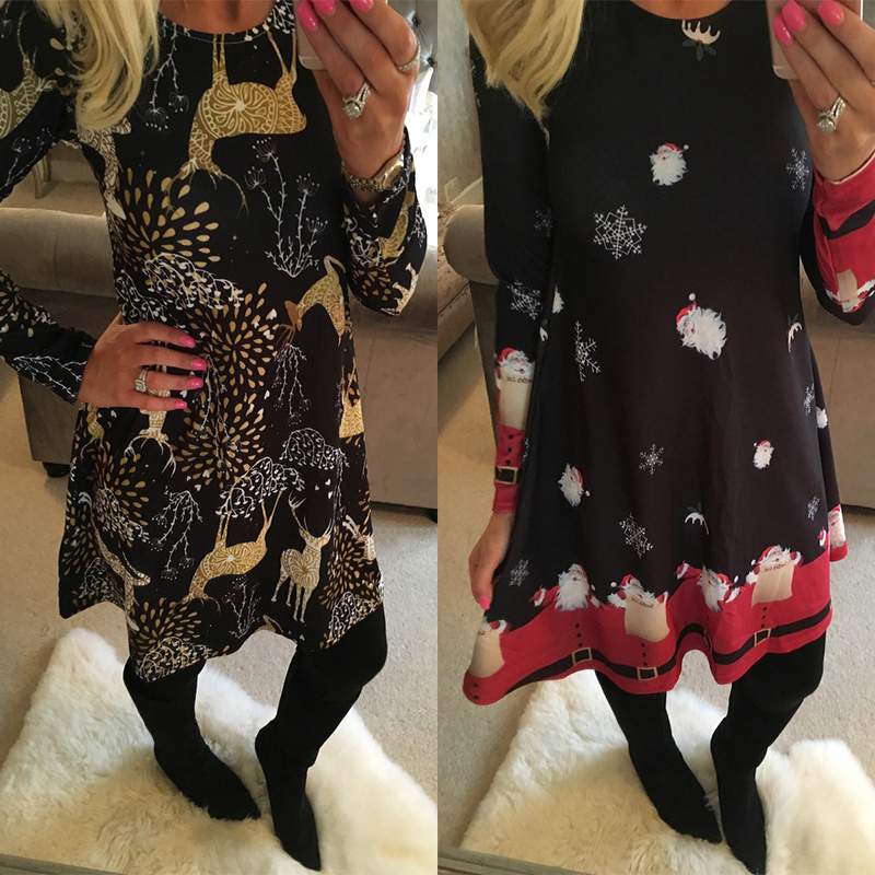 Winter Casual New Year Christmas Mini Dress Women Long Sleeve Floral Plus Size Dress Clothes Femme O-neck Ladies Dresses