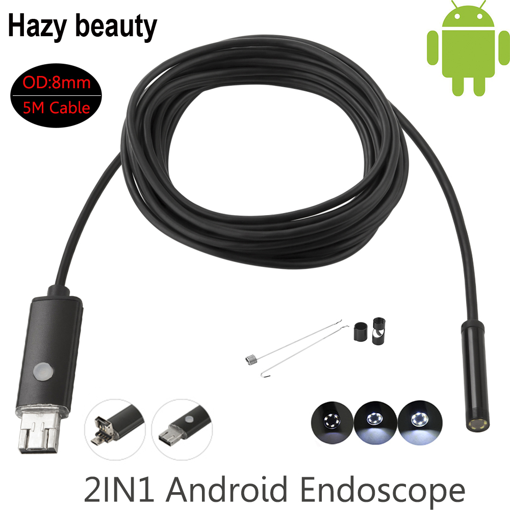 Hazy beauty USB Android Endoscope 8mm 5m Length Endoscope 2M HD Inspection Snake Camera Waterproof Snake Pipe Borescope Cam hazy beauty usb android endoscope 8mm 5m length endoscope 2m hd inspection snake camera waterproof snake pipe borescope cam