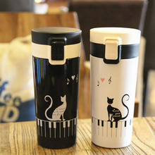 Cat Pattern Double Wall Stainless Steel Vacuum Flasks 360ml Car Thermo Cup Coffee Tea Travel Mug Thermol Bottle Thermocup
