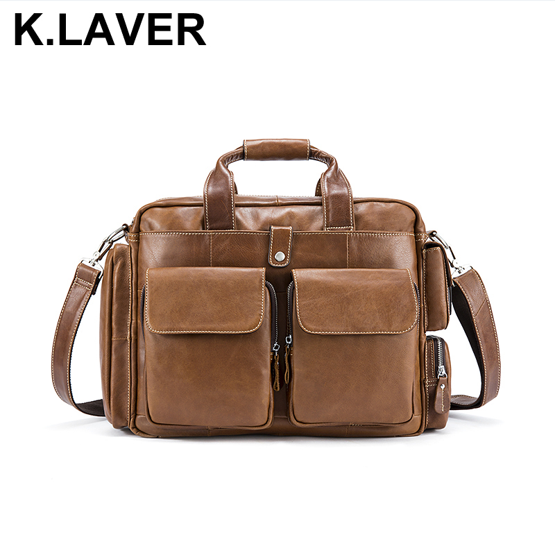 Business Men Briefcase Handbags Genuine Leather Men's Messenger Bag Shoulder Crossbody Bags Leather Travel Totes Laptop Bag Male