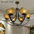 Европейская Роскошная антикварная стеклянная люстра для гостиной спальни  американская Классическая железная художественная светодиодна...