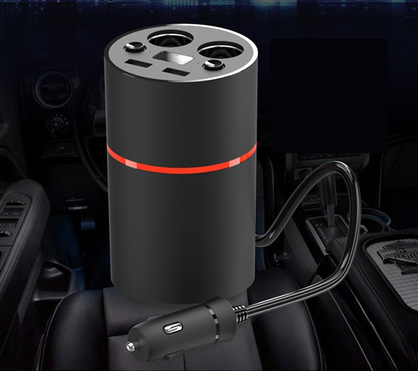New cup car charger Double usb With voltage display With storage box / ashtray car charger auto ashtray cup shaped shiny finish with hook