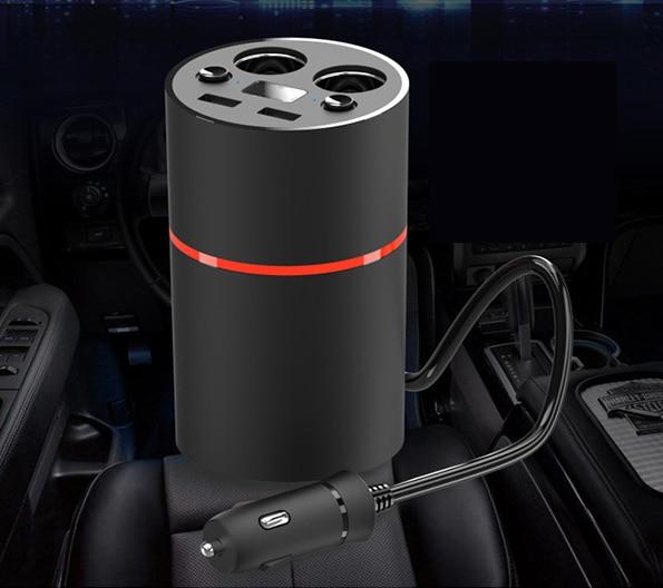 Nueva copa cargador de coche doble usb con pantalla de voltaje con caja de almacenamiento/Cenicero Coche