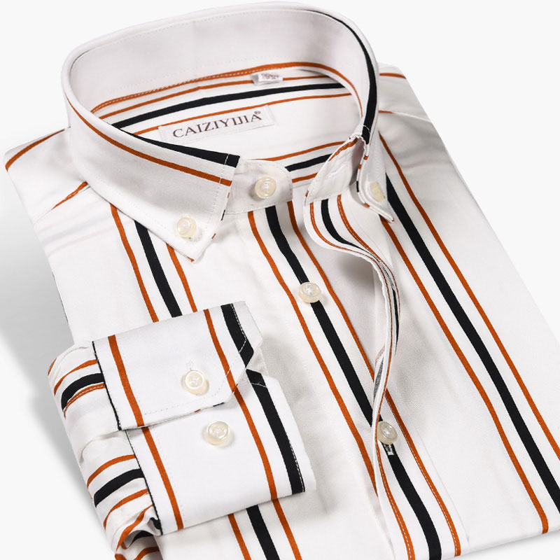 High Quality 100% Cotton Men's Vertical Striped Dress Shirts Fashion Business Casual Long Sleeve Button-down Classic Work Shirt
