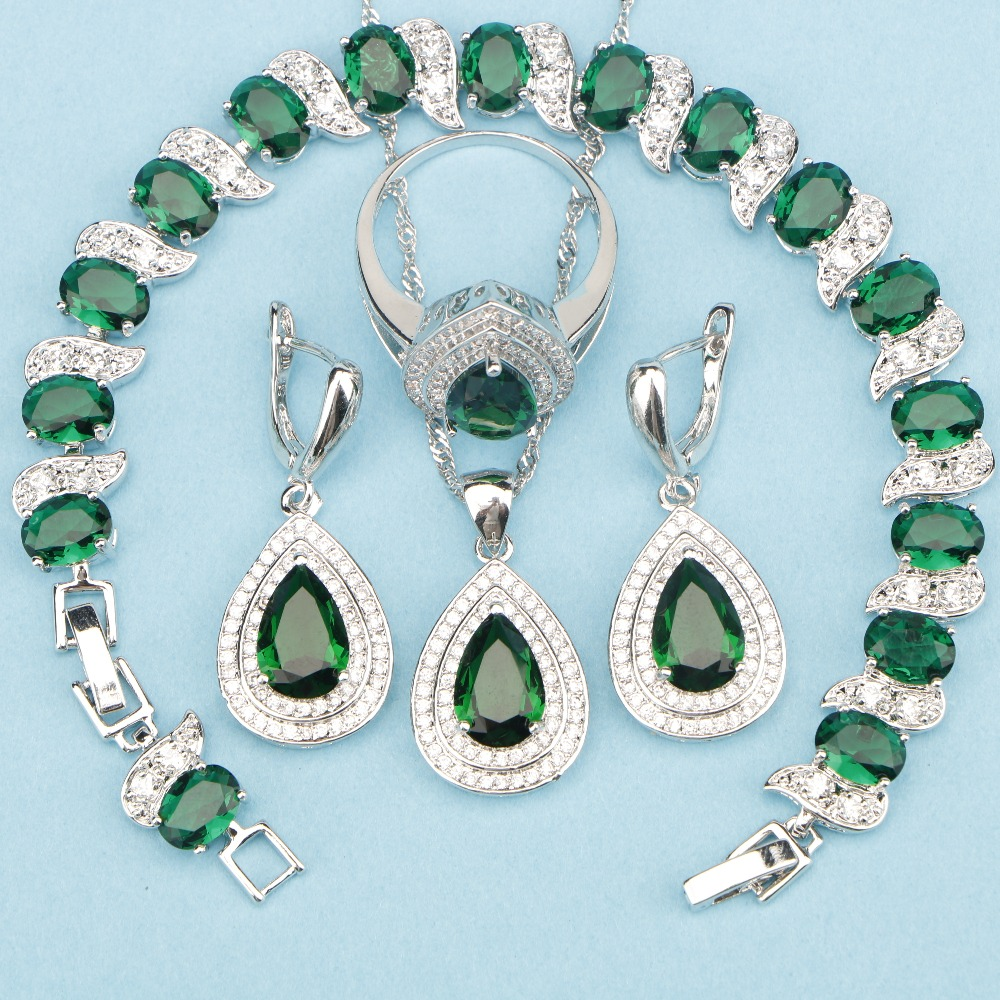 Wedding & Engagement Jewelry Jewelry Sets Natural Green Cubic Zirconia Flower Shaped 925 Sterling Silver Drop Earring Pendant Necklace Ring Set For Women