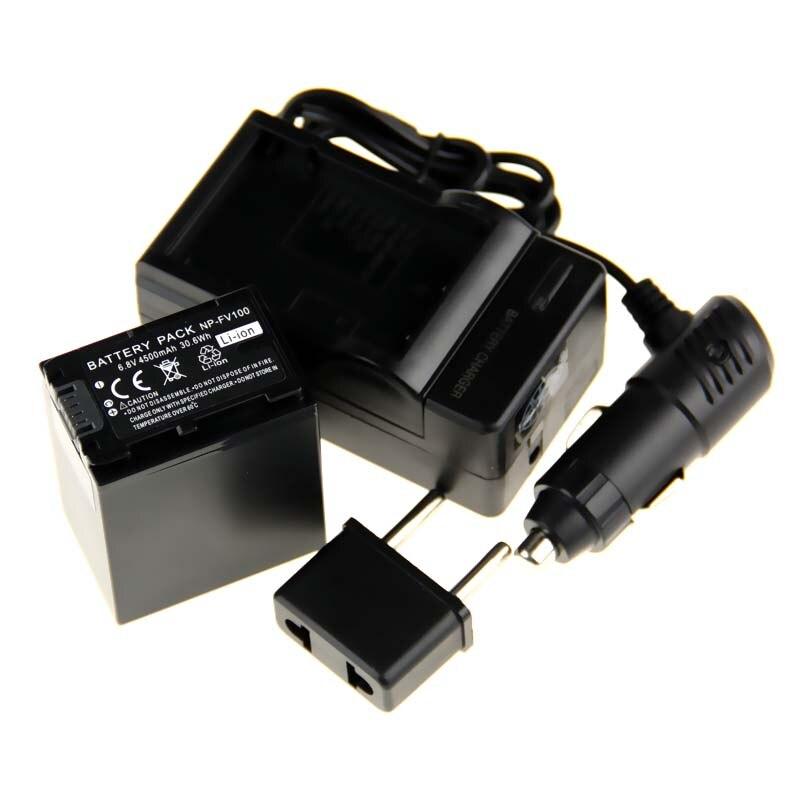 (4pcs/set)1Pcs NP-FV100 NP FV100 NPFV100 li-ion Battery+Charger+Car Charger for SONY XR150E CX550E CX350E CX150E NP-FV70 FV50 z1