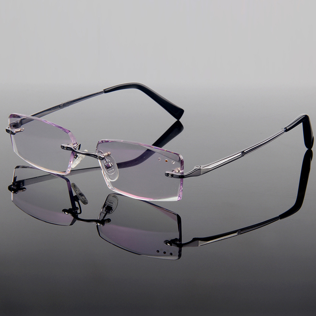 Soberba de Luxo Liga de Titânio Frame Ótico Óculos Sem Aro de Diamante Corte Corte Com Matiz Gradiente Lentes Unisex Estilo Frame