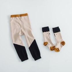 Myudi-algodão meninas outono inverno collants com o bebê meia crianças calças compridas do bebê das crianças collants da criança calças meninos calças