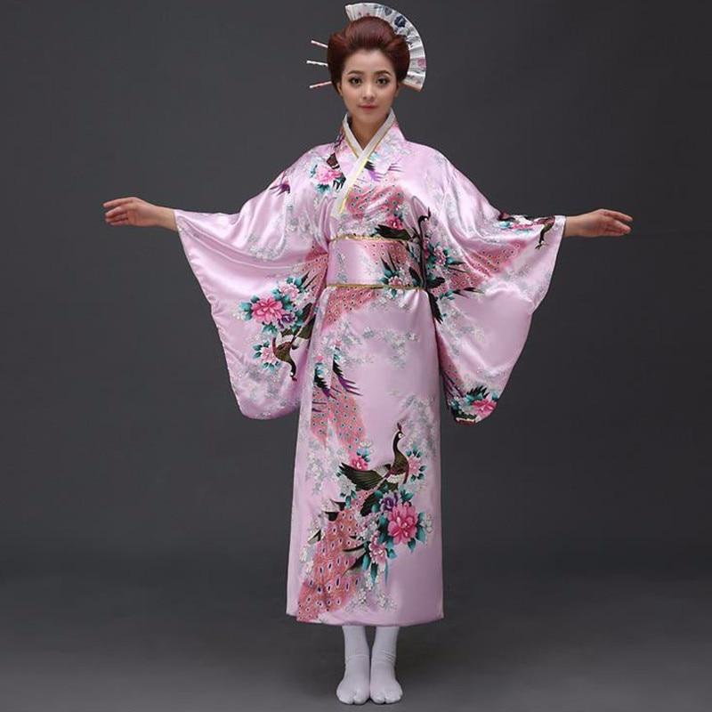 09e758767e55b الوردي الطاووس ثوب الكيمونو الياباني المرأة البوليستر الحرير كيمونو يوكاتا  مساء اللباس Haori كيمونو مع اوبي مقاس واحد