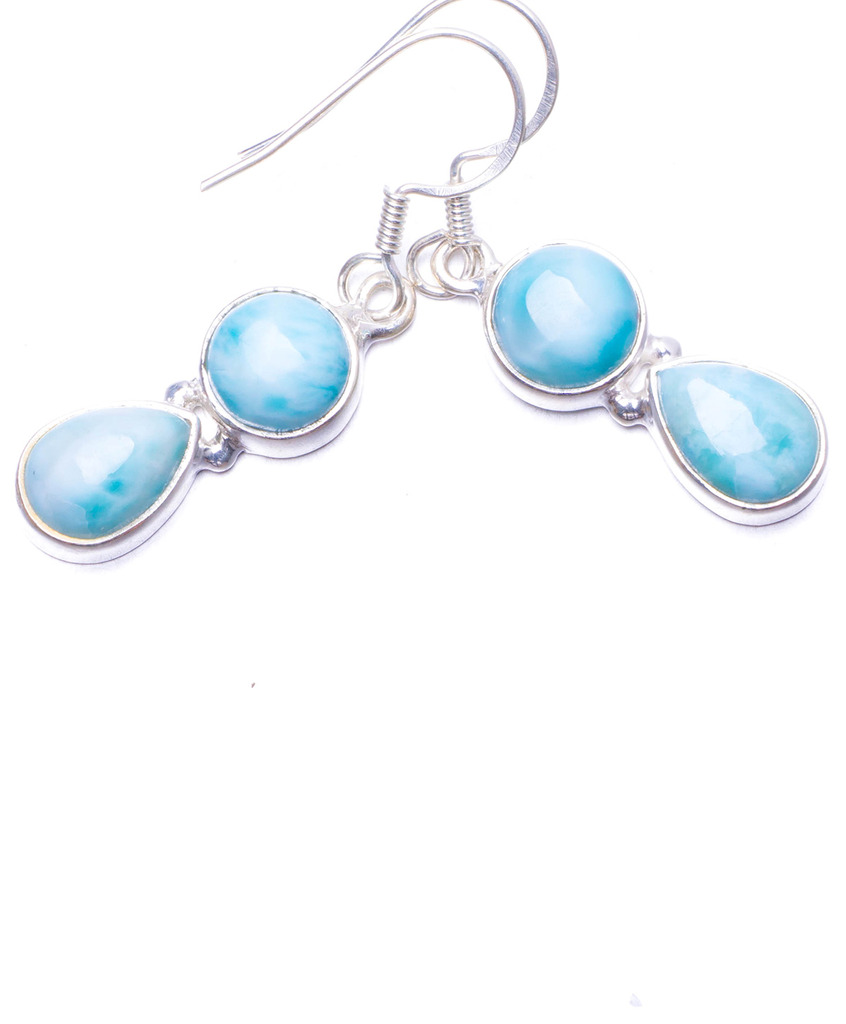 Natural Caribbean Larimar Handmade Unique 925 Sterling Silver Earrings 1.5 Y1061