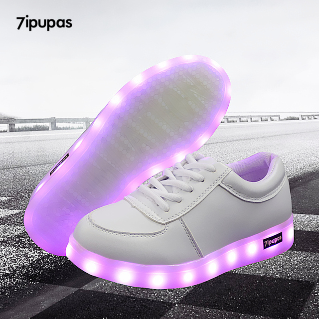 7ipupas 2018 kids shoes Led fashion High quality Led sneakers with colorful boys luminous sneakers girls white light up shoes