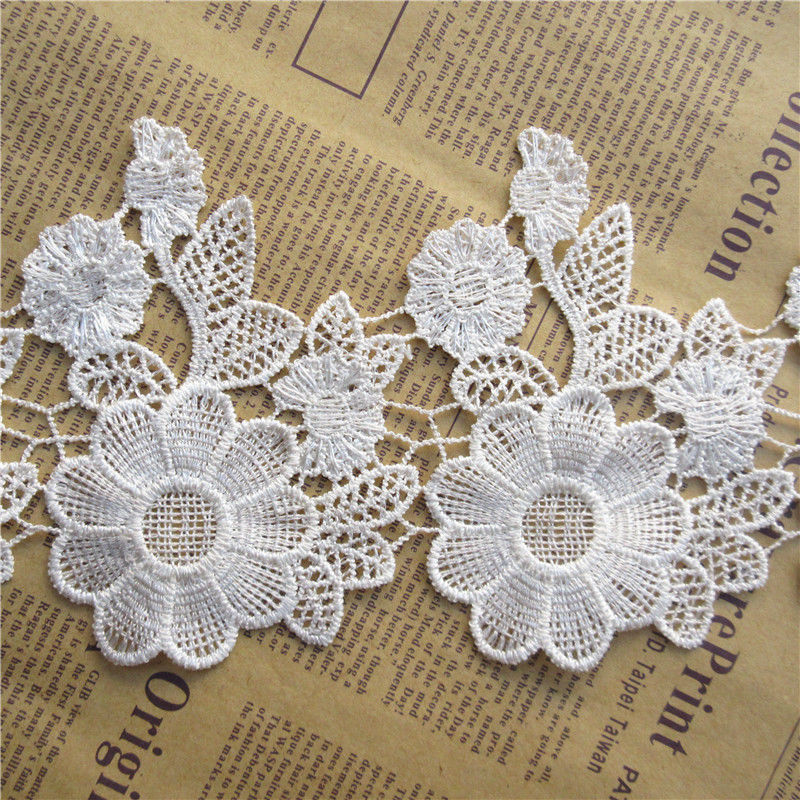 1 Meter White Vintage Embroidered Lace Trim Ribbon Wedding Applique Sewing Craft