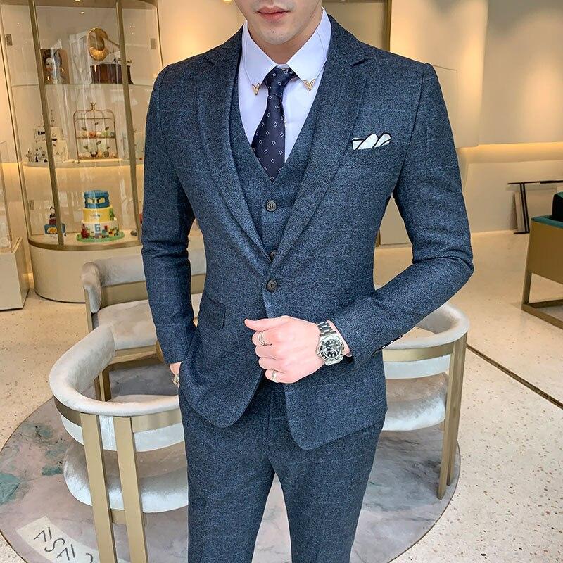 2019 New Mens Plaid Three Piece Set ( Jacket + Pant + Vest ) S-5XL Wedding Party Mens Suits Blazer Slim Design