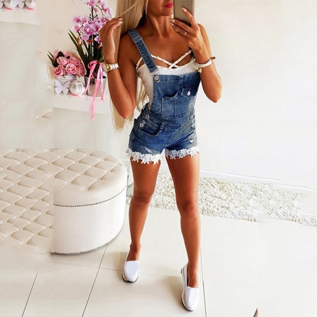 Women's Fashion Retro Denim Overalls Lace Stitching Female Washable Denim Playsuit Salopette Straps Overalls Shorts Rompers 7.16