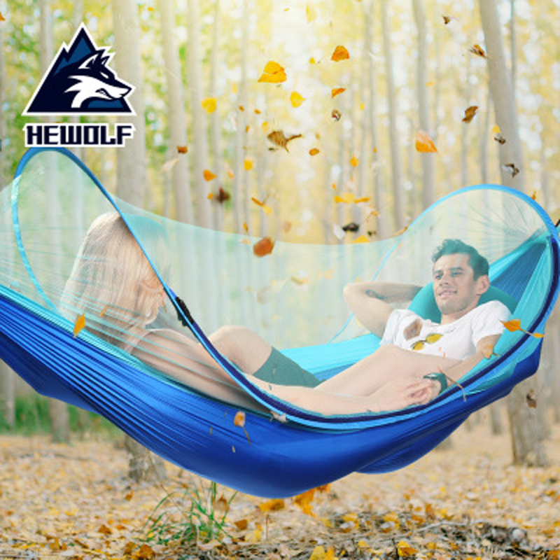Hewolf Outdoor 1 2 Persons Quick Automatic Opening Camping Hammock Tent Mosquito Net Ultralight Camping Beach
