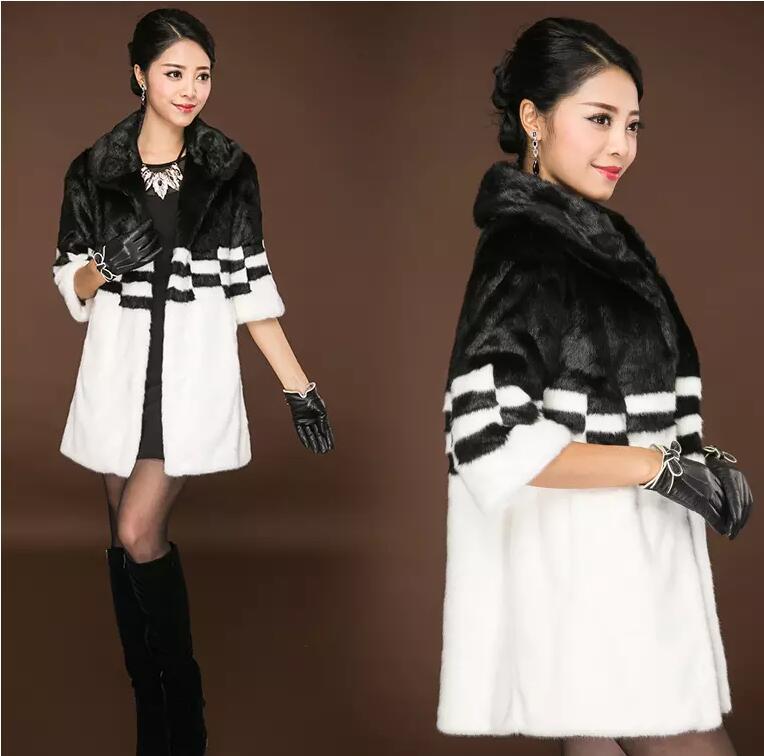Японская мода длинный искусственный мех норки пальто зимнее Для женщин Меховая куртка Верхняя одежда черный, белый цвет Костюмы зима тепла