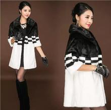 все цены на Japanese Fashion Long Faux Mink Fur Coat Winter Women Fur Jacket Overcoat Black White color Clothing Winter Warm Slim Fur Coat онлайн