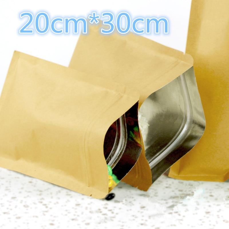 20 30cm 50Pcs Lot 7 87 x11 81 Kraft Paper Mylar Ziplock Package Pouch Aluminum Foil