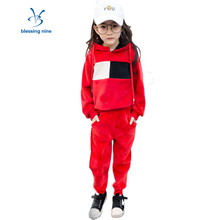 Sports Suit For Girls Clothes Sets Pullover Black Hooded Girl Set Sweater Boutique Kids Clothing Velvet Hoodies+Pants 2Pcs