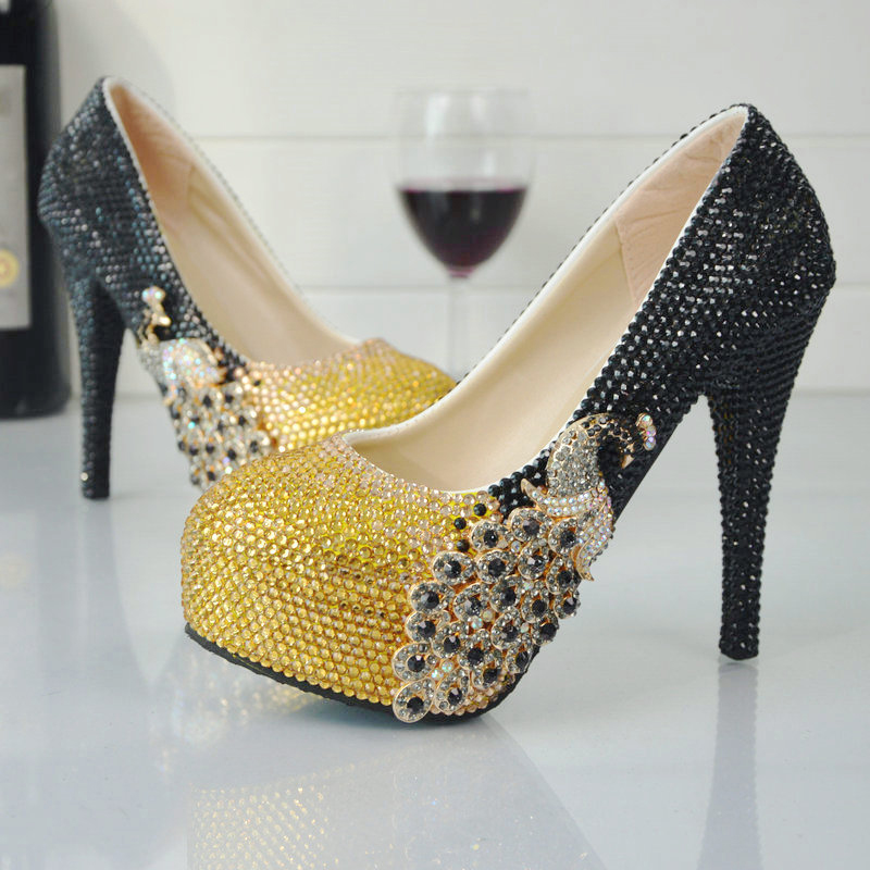 ФОТО Black and Gold Rhinestone Bride Shoes 2017 Newest Style Chrismas Prom Party High Heel Shoes Wedding Party Pumps Banquet Shoes