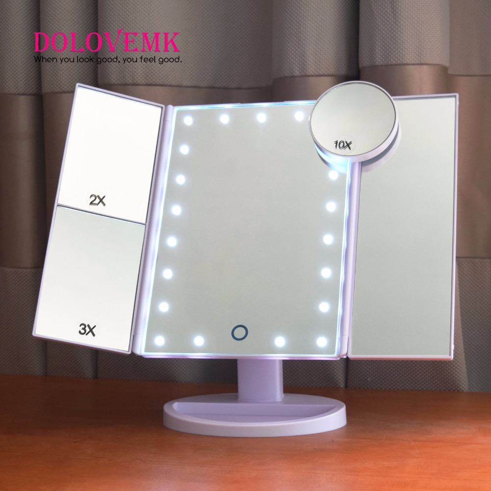 Tri-Fold Adjustable 21 LED Lights Mirror 1X/2X/3X Magnifying Make-up Mirror Bathroom Desktop Mirror+1pcs 10X Magnifying Mirror large 8 inch fashion high definition desktop makeup mirror 2 face metal bathroom mirror 3x magnifying round pin 360 rotating